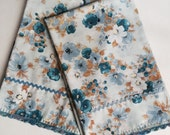 Blue Bouquets Two Embellished Vintage Pillow Cases by Seamstress Moon