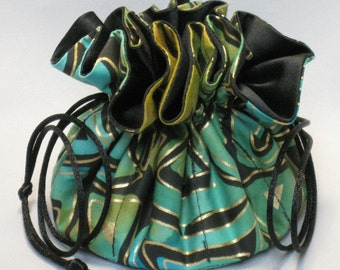 Jewelry Drawstring Travel Tote---8 Pocket Organizer Pouch---Trinidad Geometric Design---Medium Size