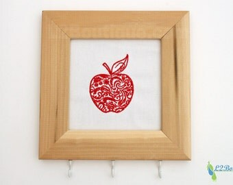 Embroidered Apple Key Holder