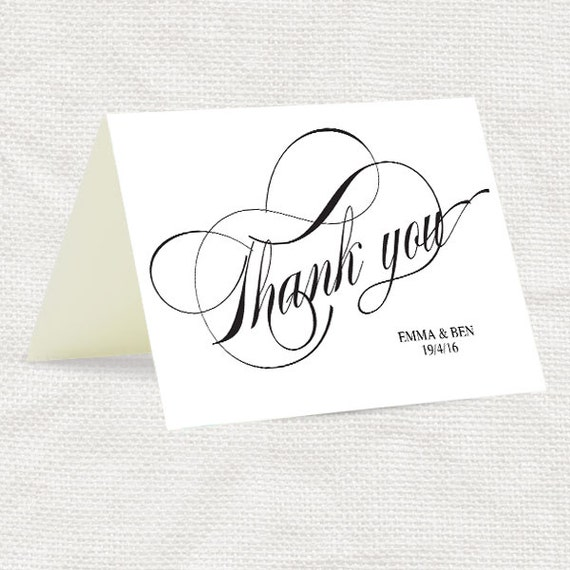diy thank you card twirl wedding - printable file instant download calligraphy classic script black and white elegant traditional thanks