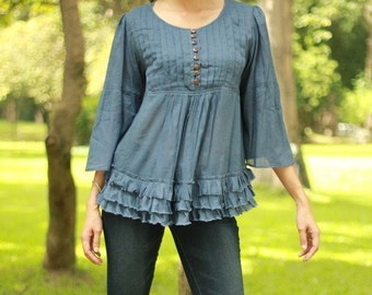 SALE 15% OFF --B053 --Lovely lovely (Cotton blouse with pleats and ruffles)