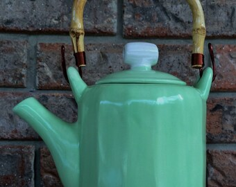 Handcrafted Asian Celadon Ceramic Tea Ceremony Tea Pot with Authentic Cane Tea Pot Handle