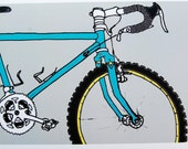 bicycle drawing grey & blue MTB / art print