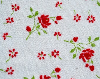 Vintage Fabric - Cotton Gauze Flocked with Red Roses - 39 x 51