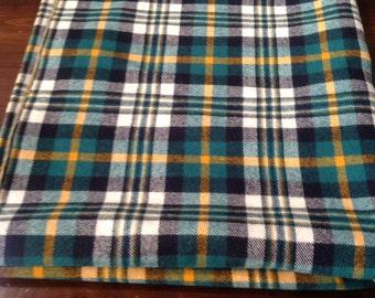 Vintage Green, Gold, Black, Green Plaid Wool Fabric Yardage (M-17)