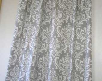 """Fabric shower curtain, Ozborne damask,storm grey and white cotton print, 72"""", 84"""", 90"""", 96"""", 108"""" custom sizes available"""