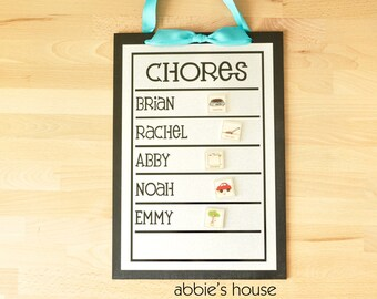 Family Chore Chart + 12 Magnets   - 9 x 13 magnetic, personalized chore board with 2-6 names