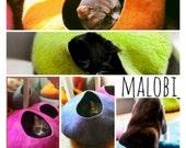 Cat Cave / cat bed - handmade felt - bright block colours - S,M,L,XL + free felted balls