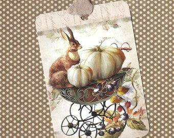 Tags, Rabbit Tags, Autumn, Pumpkin Tags, Rabbit and Pumpkin