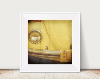Volkswagen Beetle Fine Art Print--Yellow Beetle Vintage Car 60s Mid Century Hippie Peace vw Wholesale