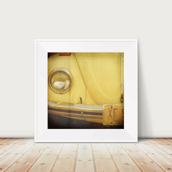 Volkswagen Beetle Fine Art Print--Yellow Beetle Vintage Car 60s Mid Century Hippie Peace vw Wholesale