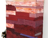 Marsala Red Paper Mosaic- Mixed Media- Abstract Landscape- 5x7x1- Red Ombre- Wood Block- Pantone- Fine