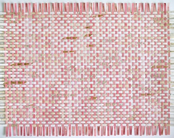 Pink Paper Weaving- Large Wall Art- Handwoven Art- Hand Painted Collaged Paper- 24x24- Original Woven Assemblage- Wall Weave- Boho Decor
