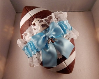 Football Toss Garter White Lace Light Blue Bow Wedding Accessories Football Band ( Football not included)