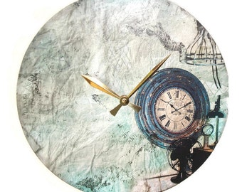 shabby industrial wall clock made with recycled vinyl record old world time piece clock