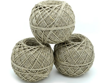 Natural Hemp Yarn, 3 Balls, 1.5mm, 275ft, Bulky Yarn,  Hemp for  Crochet,  Hemp Fiber Yarn, Kitting Yarn, Hemp Supplies