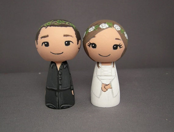 Hippie Bohemian Wiccan Wedding Cake Toppers
