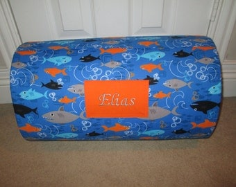 MONOGRAMMED Childrens THICK  COMFY  Nap Mat Pre School Boy Sharks with Attached Cuddle Double Sided Minky Blanket and Pillow
