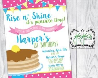 Polka Dots and Banners, Pancakes and Pajamas Birthday Party Invitation (Digital File)