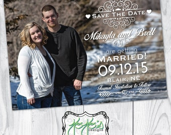 Shabby Chic, Country, Full Photo Save the Date Card (Digital File)
