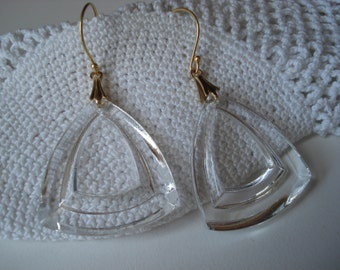 Vintage Art Deco Statement Faceted Cut Crystal Glass Gold Earrings Nature Chapel Windows