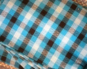 Vintage Sears Perma-Prest Blue Plaid Twin Bedspread