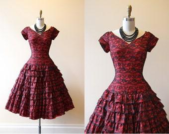 50s Dress - Vintage 1950s Dress - Red Black Spanish Lace Hourglass Wedding Party Dress S - Seniorita