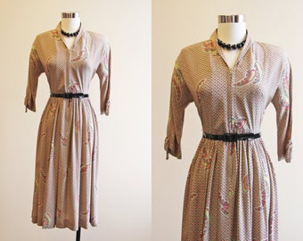 40s Dress - Vintage 1940s Dress - Red Chartreuse Paisley Deco Rayon Designer Swing Dress XS - Paisley Park