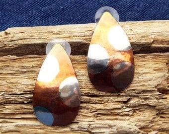 Marriage of Metal Polka Dot Post Earrings