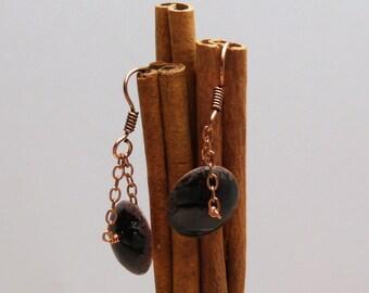 Copper and Black Enamel Earrings