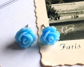 Paris, I Love You, Delicate Dainty Rose, Earrings,Tiny Rose Studs, Vintage Inspired, Handmade Keepsake Jewelry by HoneyNest