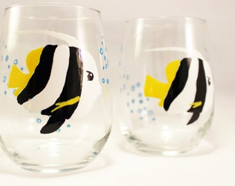 Pennant Coralfish, hand painted stemless wine glasses, painted fish glasses,  set of 2 Ready to Ship