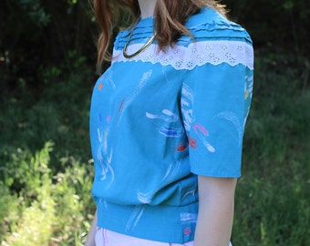 DONNA - 1980s Abstract Blouse Eyelet Lace Button Back Puff Sleeves Retro Funky Classy Lady Watercolor Brushstroke Teal Aqua Boho Small