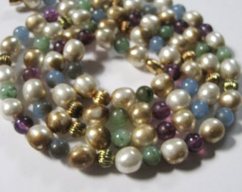 """CLOSING SALE Vintage glass and plastic bead necklace. Pearls, gold tone metal, blue and purple. 38"""". Wraps arou"""