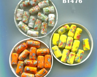 Rare Vintage Japanese Millefiori  Oval and Tube Beads, B1080OV.B1476*