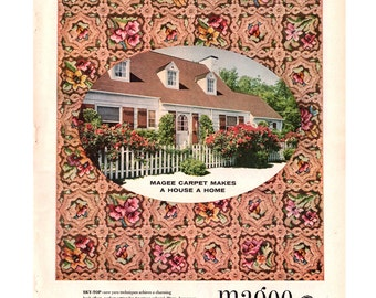 1955 Magee Carpets Vintage Ad, 1950's Decor, 1950's House, Retro Decor, Mid Century Modern, White Pickett Fence, Vintage Rugs.