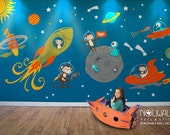 Monkey Wall Decal, Space,  astronaut, alien, planet,  astro, baby, boys Wall Decal Wall sticker - LARGE SET