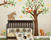 Children Wall Decal Wall Sticker tree decal, Full Tree with Branch Forest Friends Kids Decal - KK123