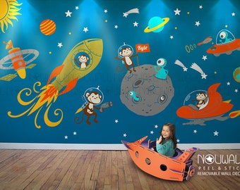 Monkey Wall Decal, Space, Astronaut, Alien, Planet, Astro, Baby, Part 78