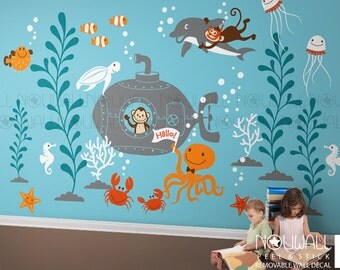Underwater Wall Decal ,Ocean, submarine, turtle, monkey, jelly fish, Dolphin Kids Wall Decal Wall sticker- Regular size
