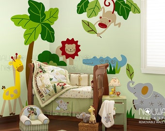Zoofari Animal ,Tree ,Lion,Giraffe, Elephant, Chocodile,Monkey  Wall Decal Wall Sticker