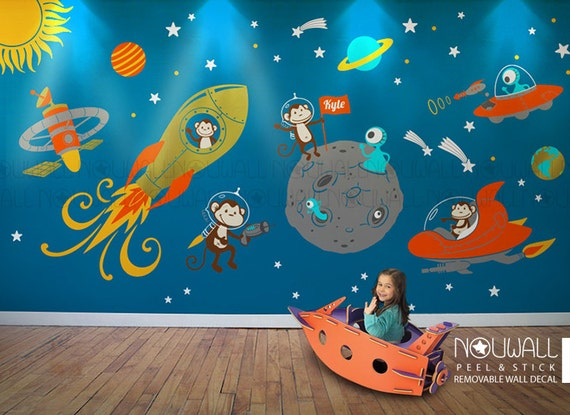 Monkey Wall Decal Space Astronaut Alien Planet Astro