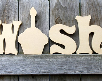 WISH unfinished wood letters