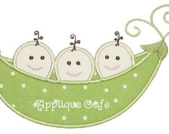 266 Triplet Pea Pod Machine Embroidery Applique Design