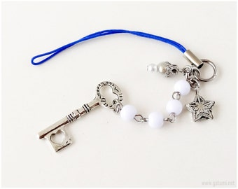 Key to the Stars Phone Charm, Beaded Phone Strap, Silver, White, Blue