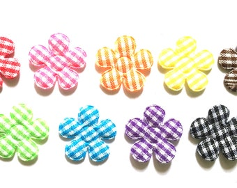 100 pcs Cute Gingham Flower Padded Appliques mix colors size 20 mm