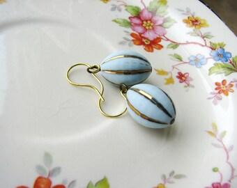 Vintage Bead Earrings Little Blue Earrings Bead Earrings Simple Earrings Bridal Wedding Earrings Minimalist Jewelry Gold Earrings