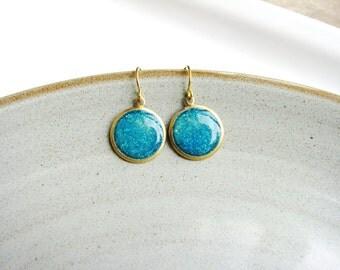 Aqua Earrings, Glitter Earrings, Blue Drop Earrings, Dangle Earrings, Simple Minimalist Earrings