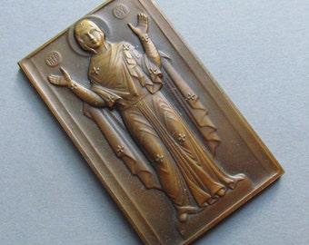 Antique Risen Jesus Religious Medal Art Deco French Bronze Signed Herbemont Lamb Of God  SS113