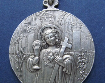 Jesus Religious Medal French Art Nouveau Silver Holy Communion Dated 1898  SS54